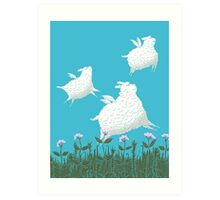 Flying Sheep Meadow Larks Art Print