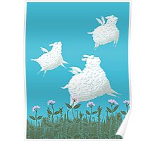 Flying Sheep Meadow Larks Poster