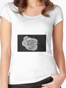 Black and white rose Women's Fitted Scoop T-Shirt