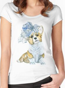 Corgi in a hat Women's Fitted Scoop T-Shirt