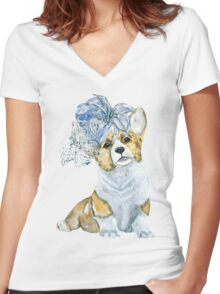 Corgi in a hat Women's Fitted V-Neck T-Shirt