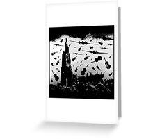 Psycho Attack - Black Print Greeting Card