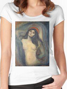 Edvard Munch - Madonna. Munch - woman portrait. Women's Fitted Scoop T-Shirt