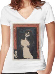 Edvard Munch - Madonna 1. Munch - woman portrait. Women's Fitted V-Neck T-Shirt
