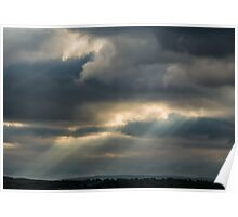 Moody Cloudscape With Fingers of God Poster