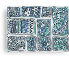 Paisley Blocks Blue Canvas Print