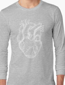 Hearts Anatomical White on Grey Long Sleeve T-Shirt