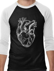 Hearts Anatomical White on Grey Men's Baseball ¾ T-Shirt