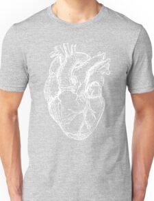 Hearts Anatomical White on Grey Unisex T-Shirt