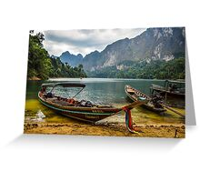 Boats at ease on Cheow Lan Lake, Thailand Greeting Card