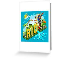 Brasil Rio Summer Infographic Isometric 3D Greeting Card