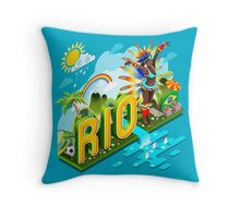 Brasil Rio Summer Infographic Isometric 3D Throw Pillow
