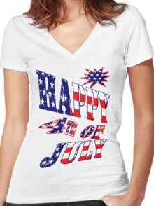 Happy 4th of July-  Art + Products Design  Women's Fitted V-Neck T-Shirt