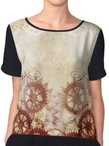 Steampunk Antique Red Gears Chiffon Top