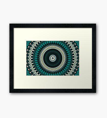 Mandala Fractal in Teal Study 01  Framed Print