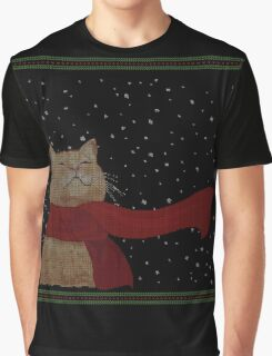 Tabby loves Snow (Knitted-version) Graphic T-Shirt