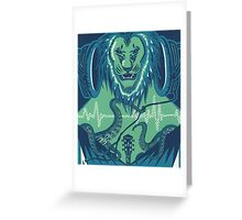 The Lion, the Pitch, and the Headphones Greeting Card