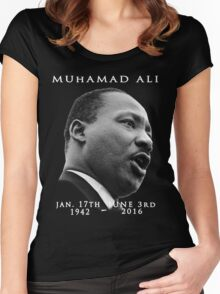 Rest in piece--MUHAMAD ALI (G.O.A.T.) GOD BLESS Women's Fitted Scoop T-Shirt