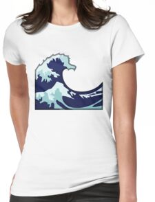 Water Wave Emoji Womens Fitted T-Shirt