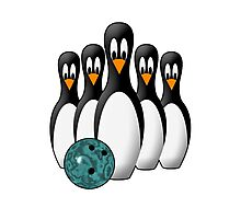 Cute Penguin Bowling Pins Photographic Print