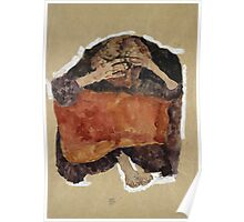 Egon Schiele - Troubled Woman. Schiele - woman portrait. Poster