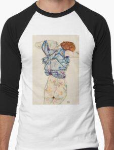 Egon Schiele - Woman Undressing. Schiele - woman portrait. Men's Baseball ¾ T-Shirt
