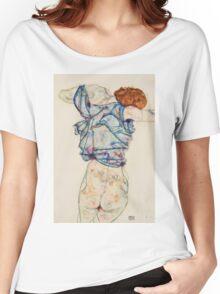 Egon Schiele - Woman Undressing. Schiele - woman portrait. Women's Relaxed Fit T-Shirt