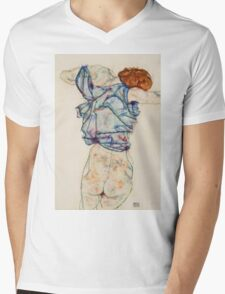 Egon Schiele - Woman Undressing. Schiele - woman portrait. Mens V-Neck T-Shirt