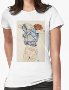 Egon Schiele - Woman Undressing. Schiele - woman portrait. Womens Fitted T-Shirt