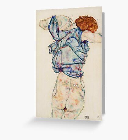 Egon Schiele - Woman Undressing. Schiele - woman portrait. Greeting Card