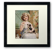 Emile Vernon - Waiting For The Vet. Emile Vernon - girl portrait. Framed Print