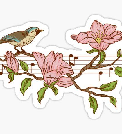 Birds, flowers and music Sticker