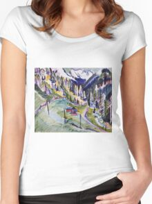 Ernst Ludwig Kirchner - Mountain Landscape.  Kirchner - mountains landscape. Women's Fitted Scoop T-Shirt