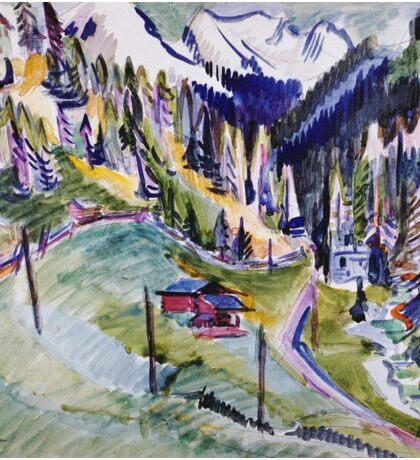 Ernst Ludwig Kirchner - Mountain Landscape.  Kirchner - mountains landscape. Sticker