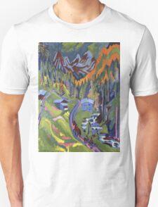 Ernst Ludwig Kirchner - Sertig Path In Summer.  Kirchner - mountains landscape. Unisex T-Shirt