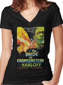 The Bride Of Frankenstein Women's Fitted V-Neck T-Shirt