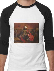 Eugene Delacroix  - A Turk Smoking Sitting On A Sofa.  Delacroix  - man portrait. Men's Baseball ¾ T-Shirt