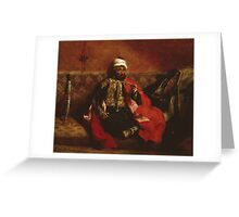 Eugene Delacroix  - A Turk Smoking Sitting On A Sofa.  Delacroix  - man portrait. Greeting Card