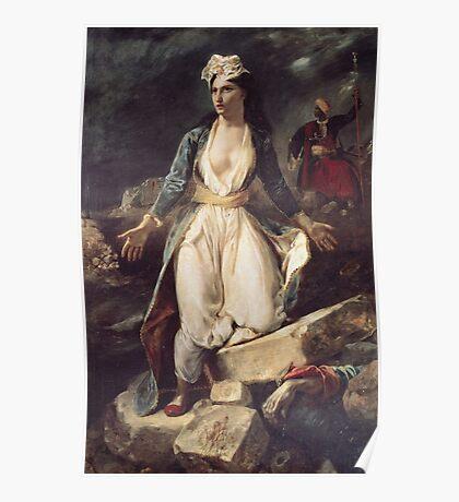 Eugene Delacroix  - Greece Expiring On The Ruins Of Missolonghi.  Delacroix  - woman portrait. Poster