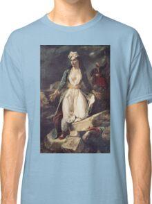 Eugene Delacroix  - Greece Expiring On The Ruins Of Missolonghi.  Delacroix  - woman portrait. Classic T-Shirt