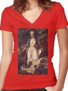 Eugene Delacroix  - Greece Expiring On The Ruins Of Missolonghi.  Delacroix  - woman portrait. Women's Fitted V-Neck T-Shirt