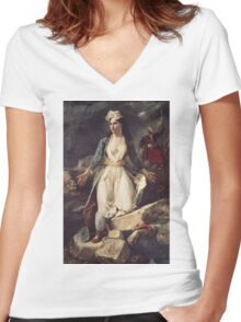 Eugene Delacroix  - Greece Expiring On The Ruins Of Missolonghi.  Delacroix  - woman portrait. Women's Fitted V-Neck T-Shirt