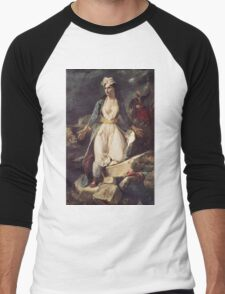 Eugene Delacroix  - Greece Expiring On The Ruins Of Missolonghi.  Delacroix  - woman portrait. Men's Baseball ¾ T-Shirt