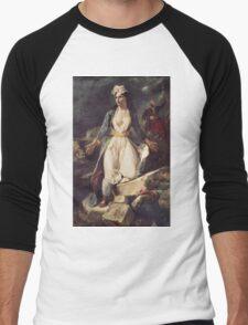 Eugene Delacroix  - Greece Expiring On The Ruins Of Missolonghi.  Delacroix  - woman portrait. Men's Baseball ¾ T-Shirt