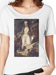 Eugene Delacroix  - Greece Expiring On The Ruins Of Missolonghi.  Delacroix  - woman portrait. Women's Relaxed Fit T-Shirt