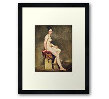 Eugene Delacroix  - Seated Nude, Mademoiselle Rose.  Delacroix  - woman portrait. Framed Print