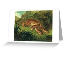 Eugene Delacroix  - Tiger And Snake.  Delacroix ,Tiger  Snake. Greeting Card