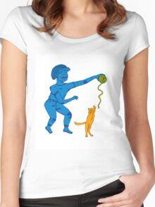 Playing with my cat Women's Fitted Scoop T-Shirt