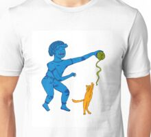 Playing with my cat Unisex T-Shirt