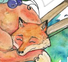 Fox sleeping on brushes Sticker